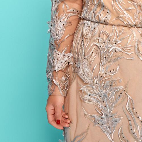 Платье с украшением страз и гипюра 11253