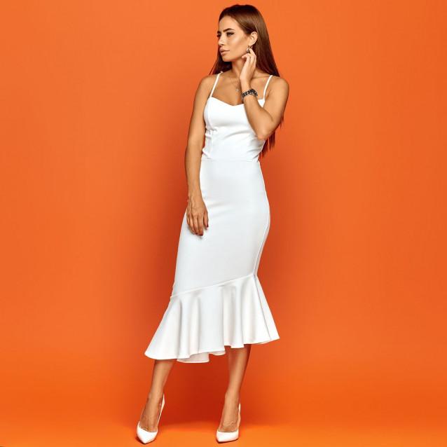 Асимметричное платье с баской 11281