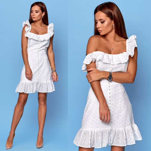 Летнее белое платье 19023