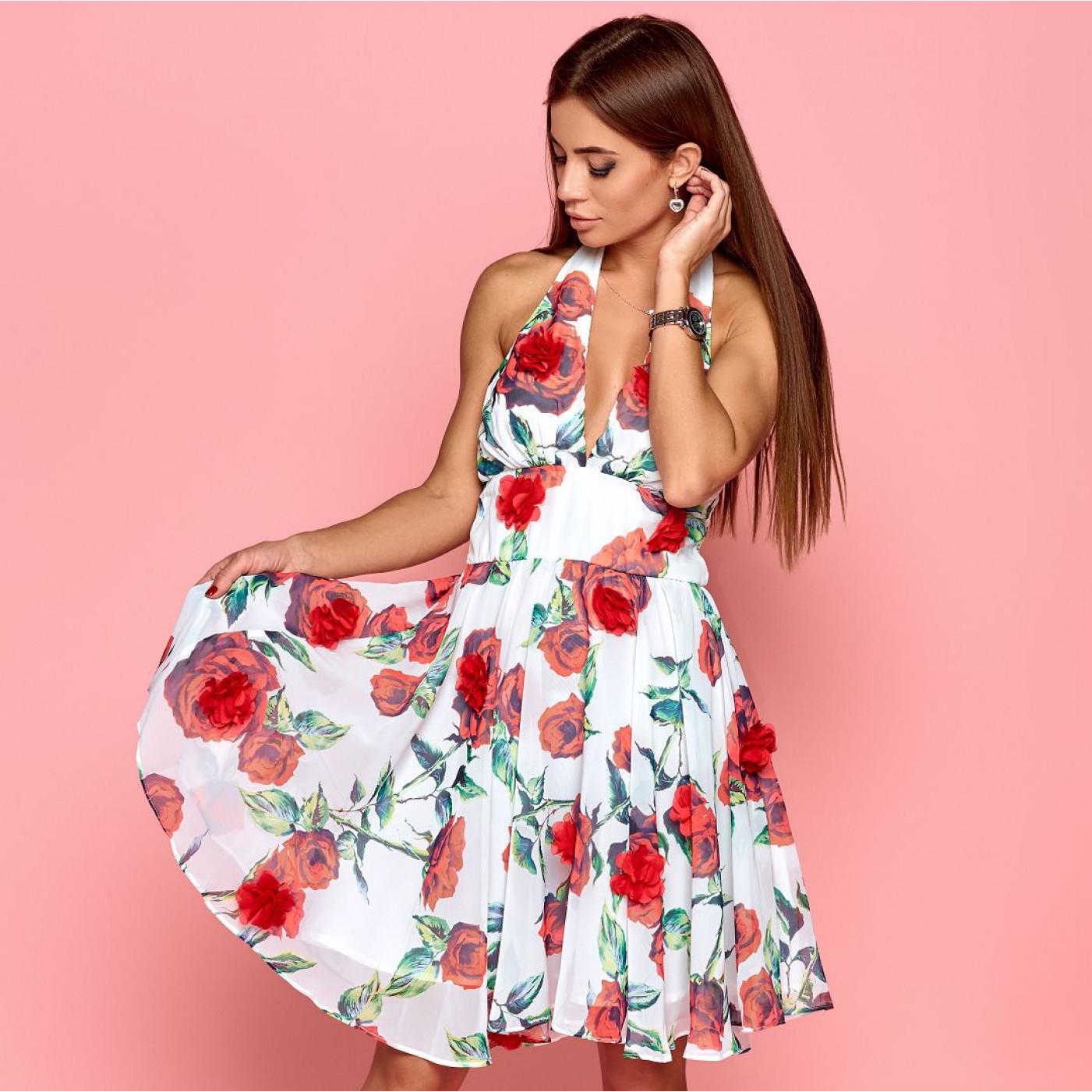 Платье летнее c открытой спиной и розами 50575