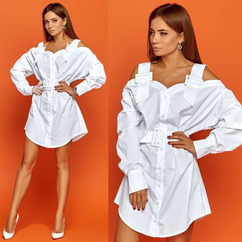 Платье-рубашка с широкими бретелями-ремнями 11265