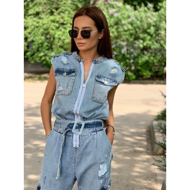Стильный джинсовый комбинезон 7380-001