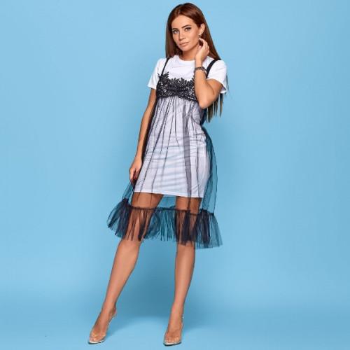 Оригинальное платье с фатином 11061