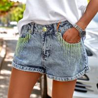 Джинсовые шорты с вышивкой на карманах 7414-001
