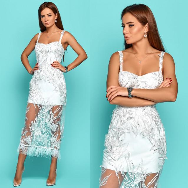 Платье с открытыми плечами с вышивкой 11272