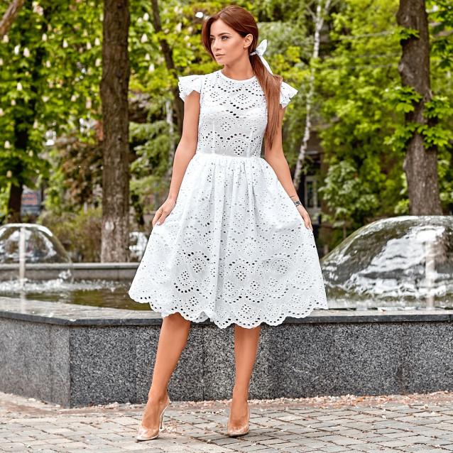 Платье из прошвы с бантом для  волос 11301