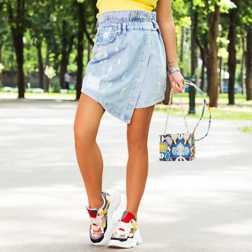 Асимметричная джинсовая юбка 8060-001