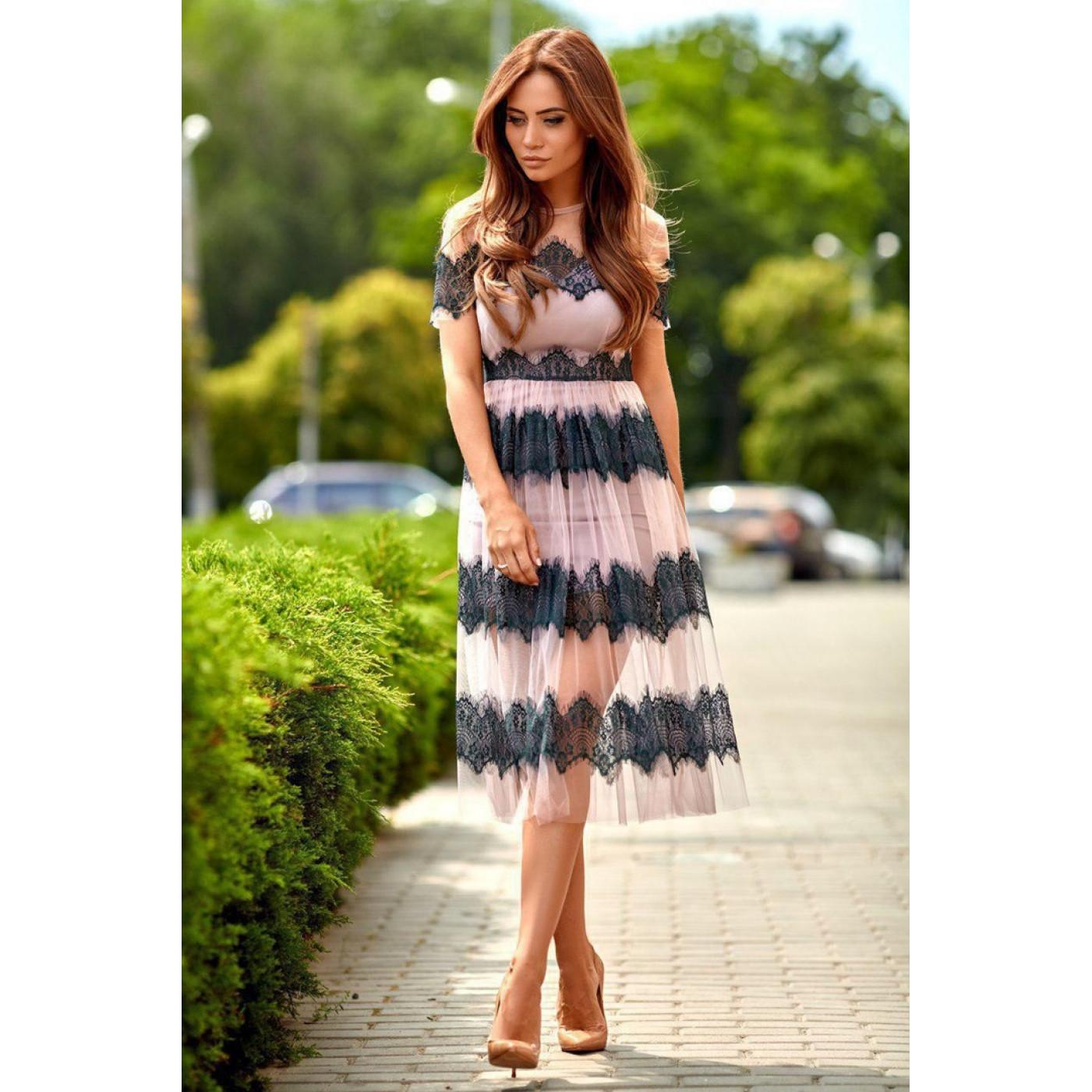 Легке плаття з фатином 11070