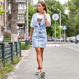 Джинсовая юбка с подтяжками 1413-0