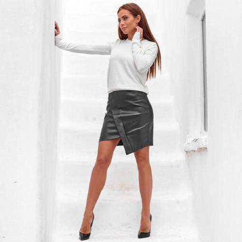 Кожаная мини юбка 11210