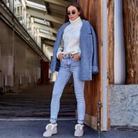 Светлые облегающие джинсы 1425