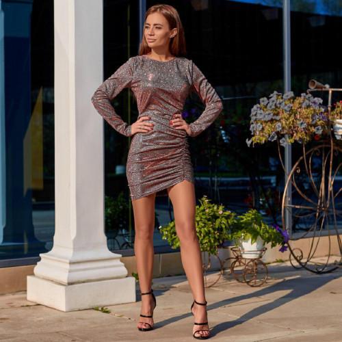 Платье со сборкой по длине блестящее 11396