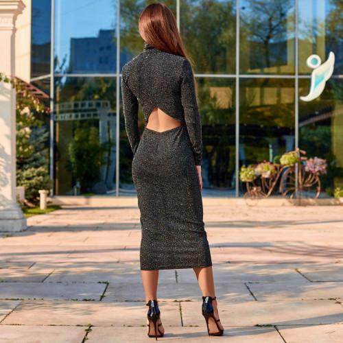 Блестящее платье с вырезом на спине 11403