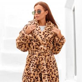 Шуба принт леопард 11377