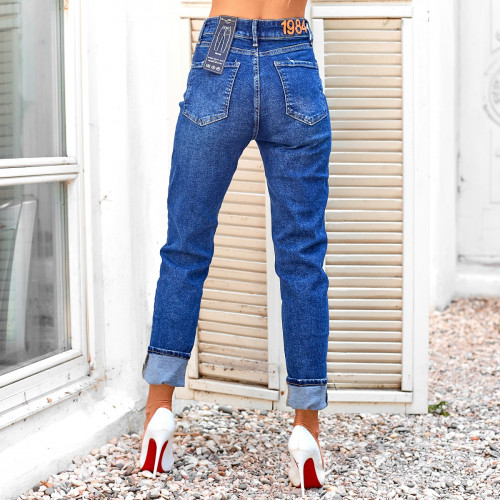 Плотные джинсы с высокой посадкой 3844