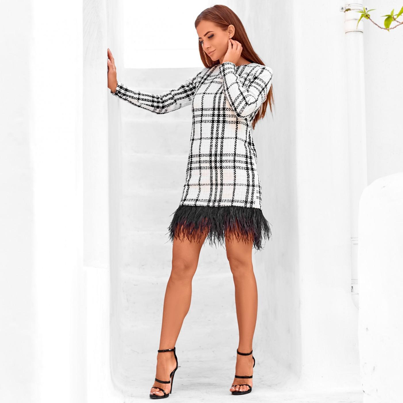Платье взрослое с перьями Family Look 11214