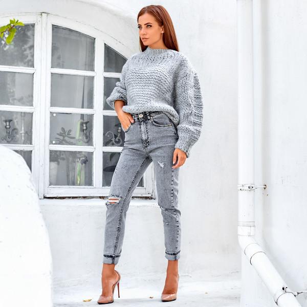 Облегающие джинсы с потертостями 1366-0