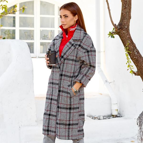 Осіннє пальто з імітацією худі 11130