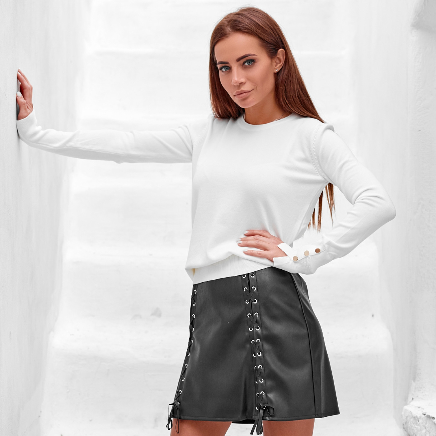 Кожаная юбка со шунровкой 40470