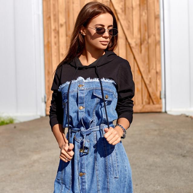 Джинсовое платье с капюшоном 3528