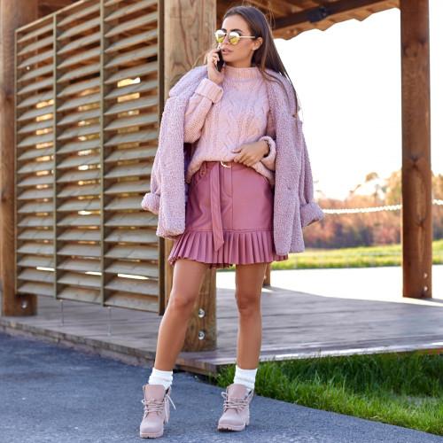 Кожаная юбка с оборкой 6063-1