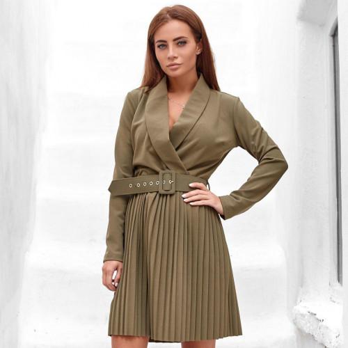 Платье с поясом с плессированным низом 32073
