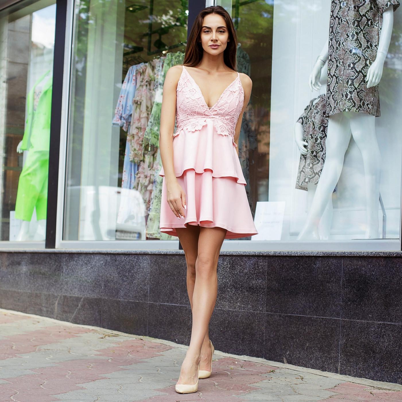 Гипюровое плаття з басками 310-0
