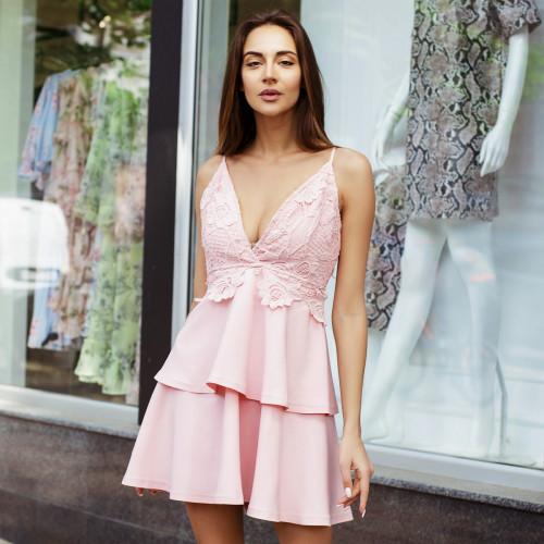 Гипюровое платье с баской  310-0