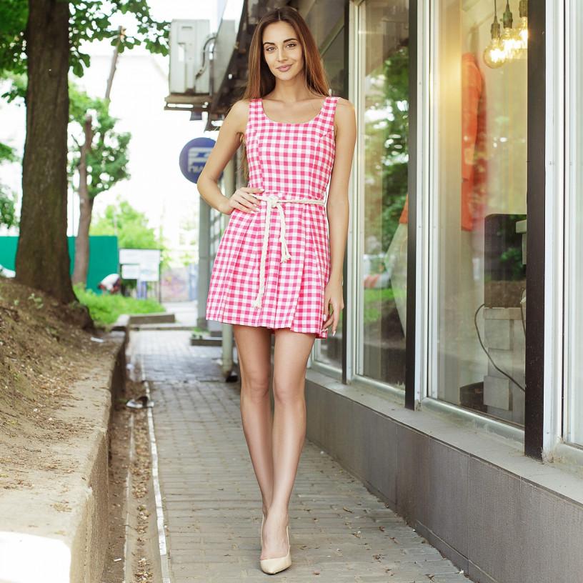 Сукня - сарафан в модну клітку 5301