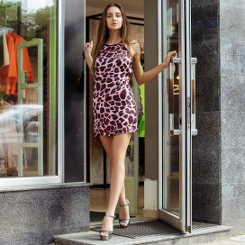 Платье леопардовое с открытой спиной 10226
