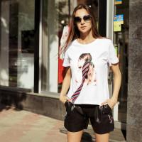 футболка с принтом и бантом 18480