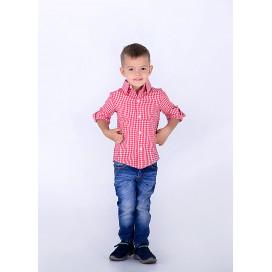 """Рубашка детская в клетку """"Кан-Кан"""" familylook 10204"""