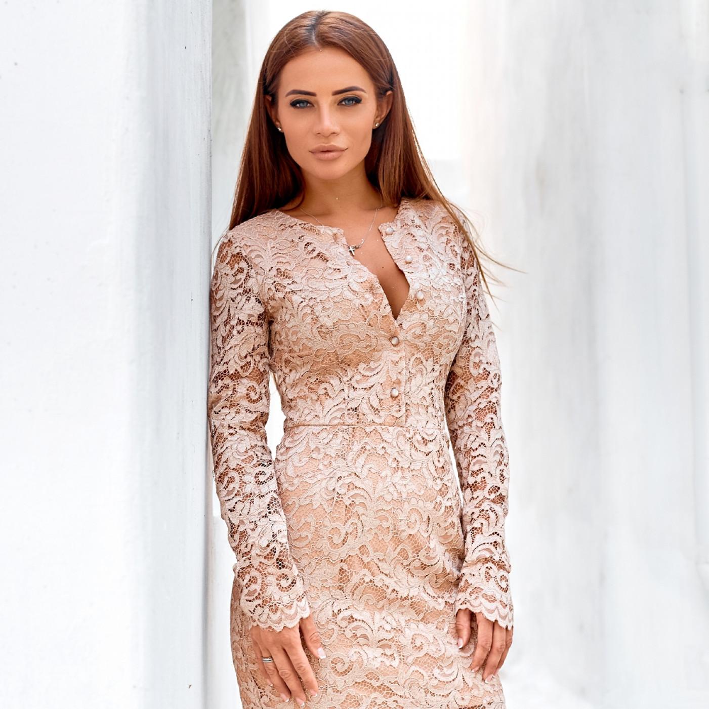 Платье из гипюра с блестками 11179