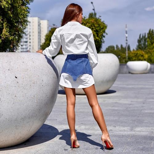 Платье-рубашка с поясным корсетом 11369