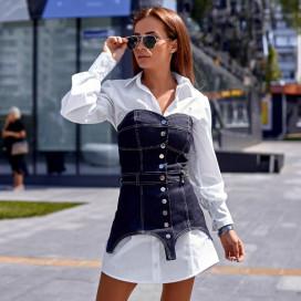 Платье-рубашка с поясным корсетом 11368