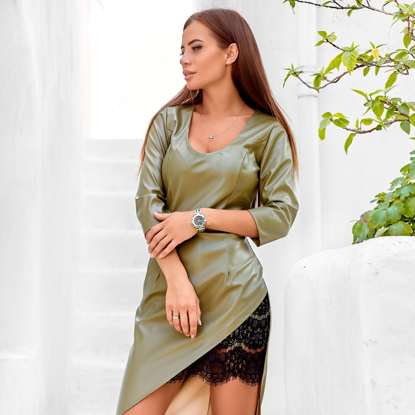 Модне плаття з екокожі 11224