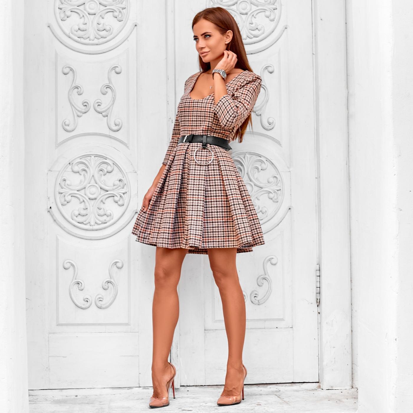 Платье в клетку с поясом 11226