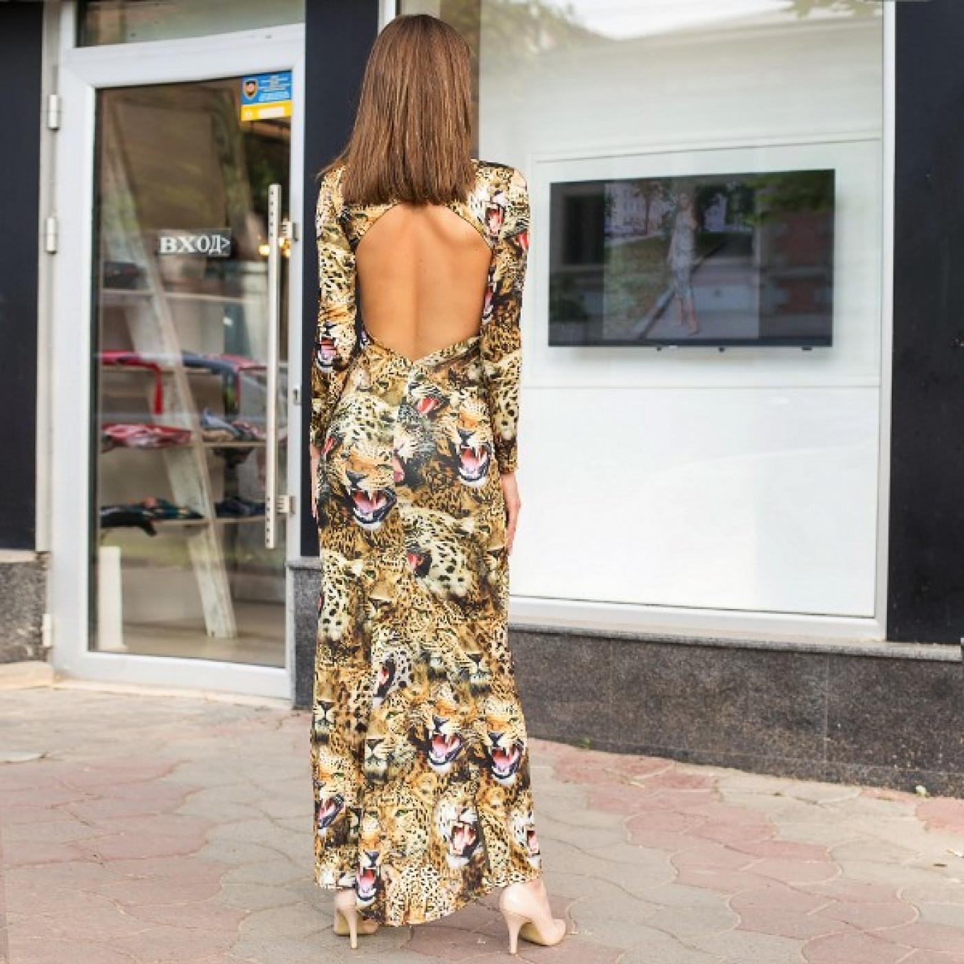 Плаття до підлоги з відкритою спиною Леопард 5010