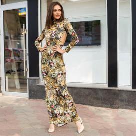 Платье в пол с открытой спиной Леопард 5010