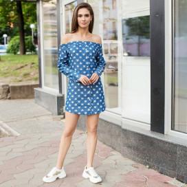Платье джинсовое с открытыми плечами 10789