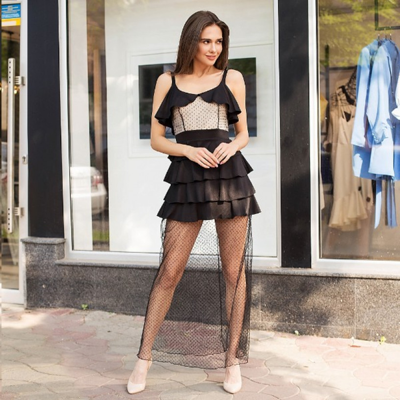 Довга сукня з фатином 11107