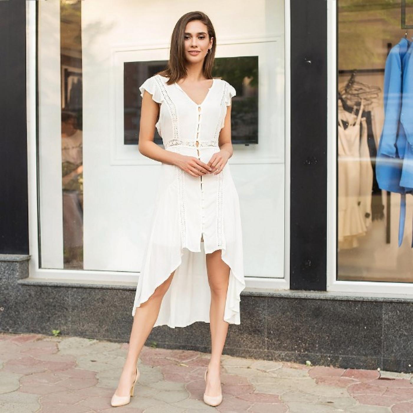 Оригінальну сукню з асиметричним подолом 326-0