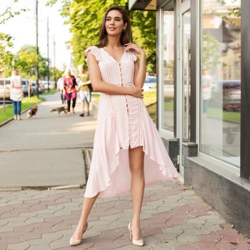 Оригинальное платье с асимметрическим подолом 326-0
