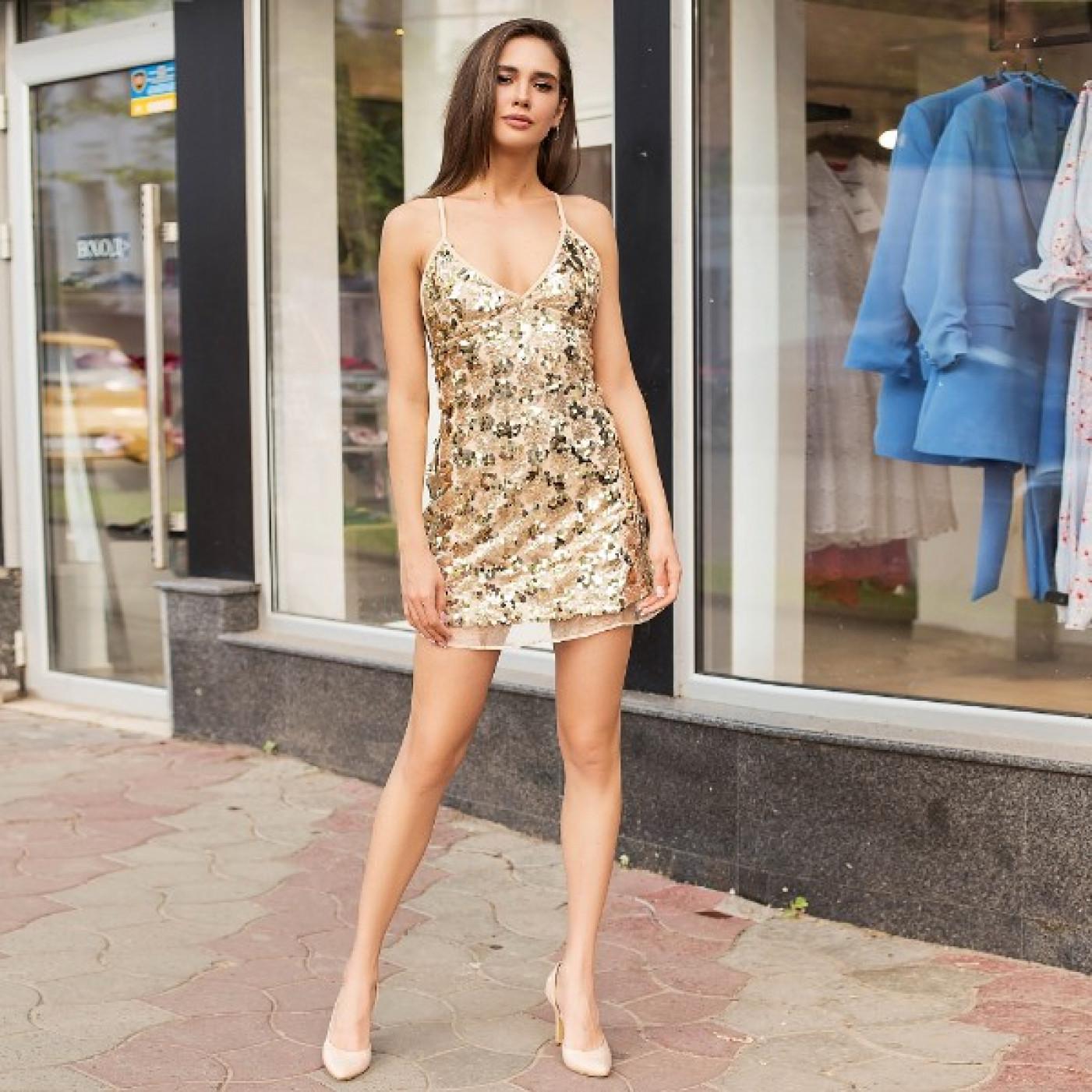 Короткое платье с пайетками 335-5