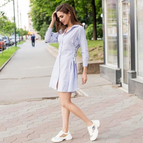 Платье полосатое со шнуровкой 3468