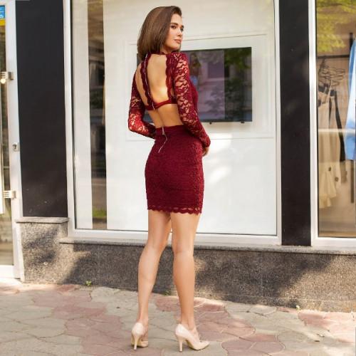Платье гипюровое с открытой спиной 400-0