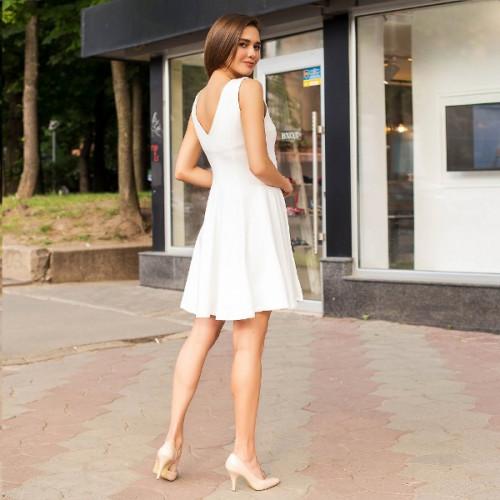 Расклешенное белое платье  4951-003