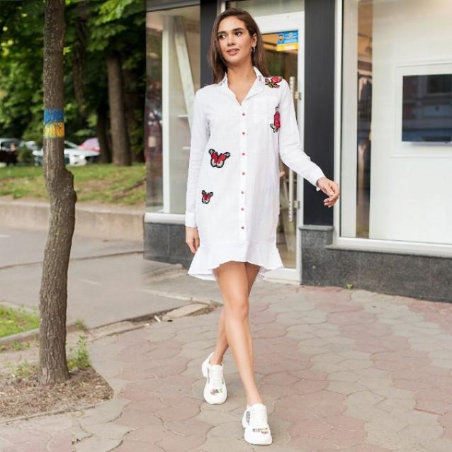 Платье-рубашка с баской и бабочками 501-5