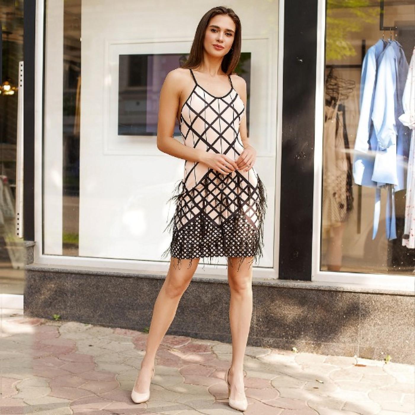 Коктейльне плаття з пір'ям 50246