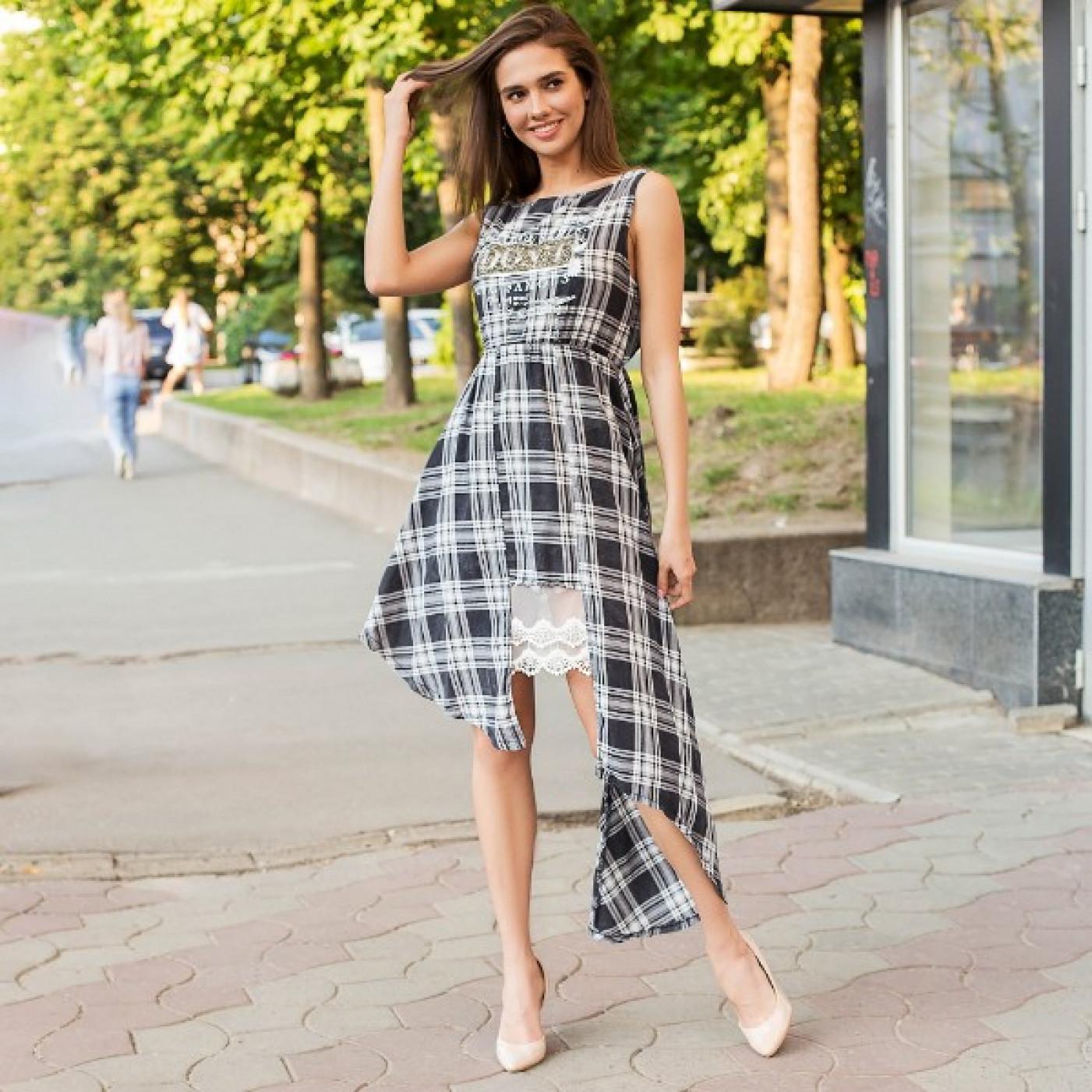 """Платье в клетку с надписью """"""""Dont"""""""" 554-0"""